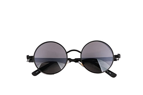 FEISEDY Retro Gothic SteamPunk Sunglasses Round Metal Frame Flat or Mirrored Lens Men Women B1857 Black/Grey