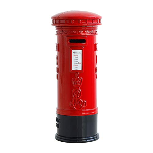Toyvian Vintage Piggy Bank British Pillar Box with High Capacity Coin Money Safe Box Kids Gifts (Mailbox)