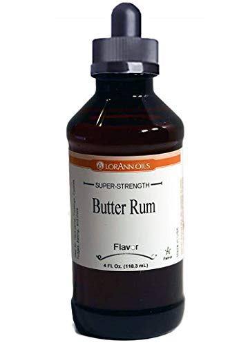 Butter Rum Flavoring 4 oz, by LorAnn Oils, with Glass Dropper Bundle (Sweet Rum Drinks)
