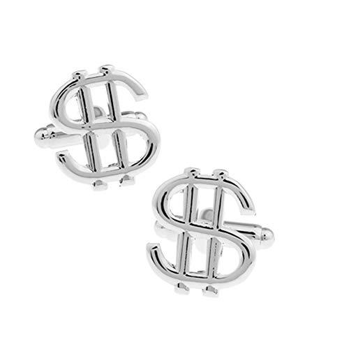 Dollar Sign Currency Cufflinks Money Wedding Gift (Silver)
