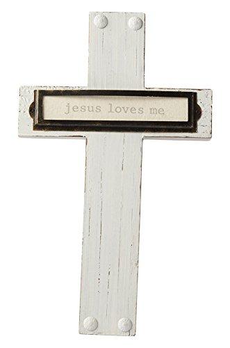 Mud Pie Cross (Mud Pie Bookplate Detailing Jesus Loves Me Pine Wood Cross Wall Art, White)