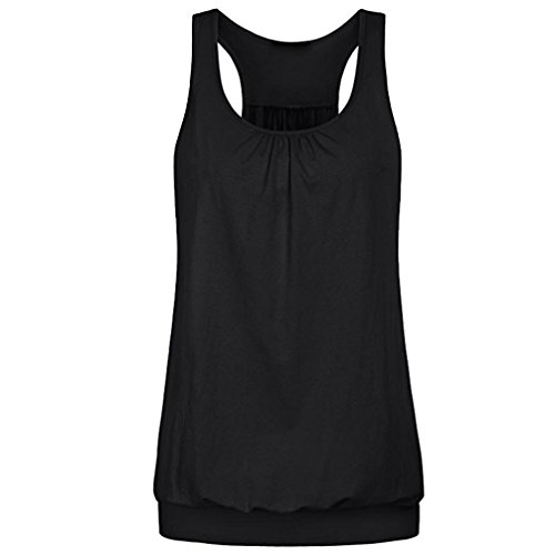 GOVOW Womens Sleeveless Round Neck Wrinkled Loose Fit Racerback Workout Tank Top Blouse