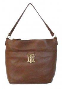 Tommy Hilfiger Monogrammed Bucket Pebble Shoulder Handbag,Mocha-282,One Size (Tommy Hilfiger Pebble)