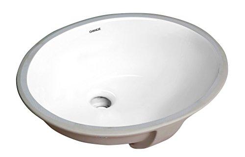1602W Oval Undercounter Bathroom Ceramic Sink,White,16x13 inches