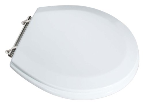LDR Industries 050 1144WT Toilet Seat, - Chrome Brushed Seat Hinges Toilet
