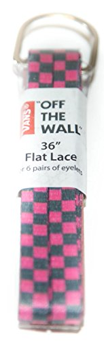 Pink Grey Checkered Vans 36 Inch Shoelaces