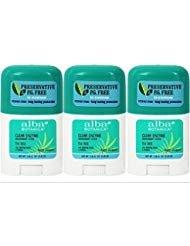 Alba Botanica Hypo Allergenic Tea Tree Clear Stick Organic Deodorant 0.5 Oz Travel Size (Pack of 3)