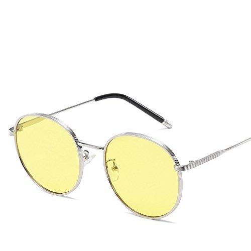 UV No3 De Gafas Vacaciones Metal NO3 Sol Protección Retro Gafas Redondo Marco Conducción Viajes Street Shot De Gafas Sol Señora De 8IqRx