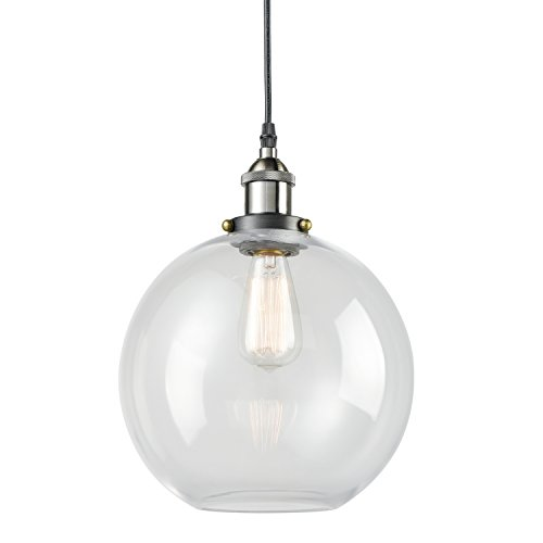 Truelite Industrial Clear Glass Globe Shade Pendant Light Modern Kitchen Opening Hanging Lamp-1 Light