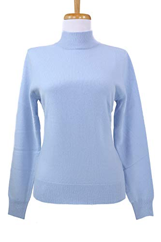 - Shephe Womens Mock Turtleneck Cashmere Sweater Sky Blue (Large)