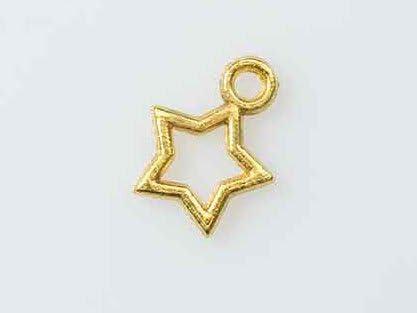 【クラフトパーツのチェロ N7.6 】 ゴールド 10個セット 透かし の 星チャーム 長さ 12mmゴールド カラー