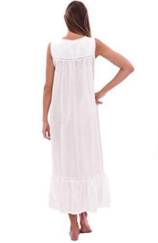 Del Rossa Womens Patricia Cotton Nightgown, Long Victorian Sleeveless Sleepwear