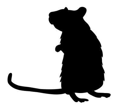 Rat Standing Mouse Silhouette Vinyl Decal Sticker (Black)]()