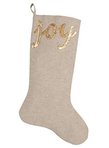 Sullivans Joy Goldtone Embroidered Linen Look 22 Inch Cotton Christmas Stocking ()