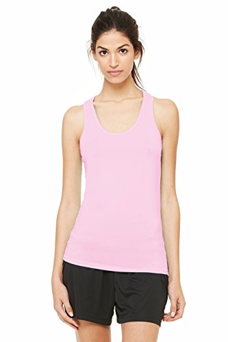 Alo Sport Ladies' Bamboo Racerback Tank, Medium, Pink/White (Alo Womens Bamboo)