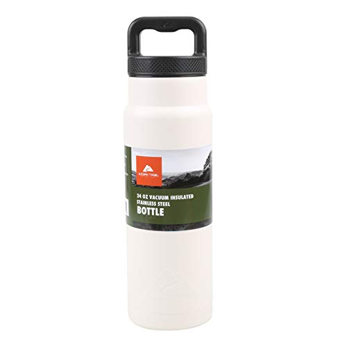 Ozark Trail 24ounce Vacuum Insulated Stainless Steel Water Bottle, White