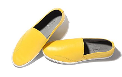 Happyshop (tm) Mens Casual In Pelle Ventilata Leggera Mocassino Slip-on Penny Mocassini Driving Shoe Giallo