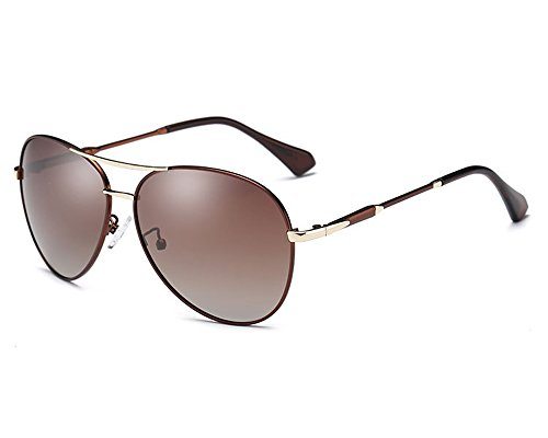 HOHAUSA Oversized Polarized Aviator Women Sunglasses UV Protection (Brown - Protection And Uv Sunglasses Polarized