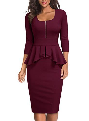 Miusol Womens Ruffle Style Square Neck Slim Work Pencil Dress
