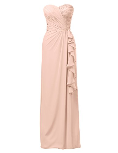 Alicepub Women's Long Bridesmaid Dress Column Evening Dress Strapless Party Dress, Pearl Pink, US0 Chiffon Sweetheart Neckline Column