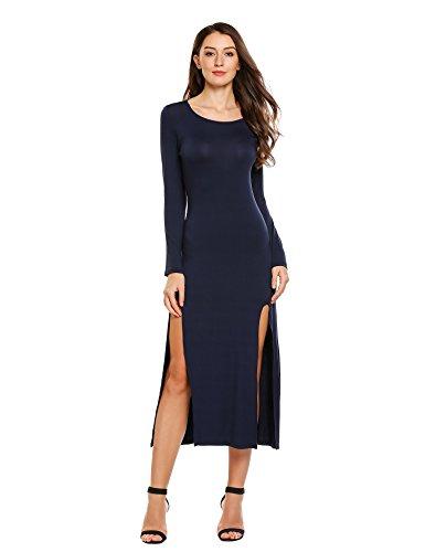 Beyove Femmes Style Maxi Robe Sans Manches À Encolure Dégagée Casual Beach Party Slim Fit 4 Bleu
