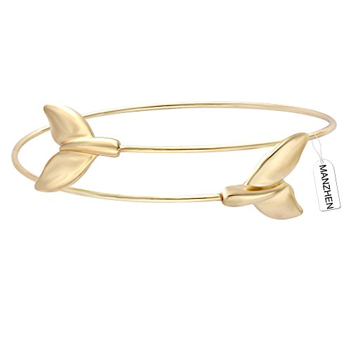 MANZHEN Fashion 3 Colors Delicate Easy Open Bangle Bracelet with Double Whale Tail Charm Jewelry (Gold)