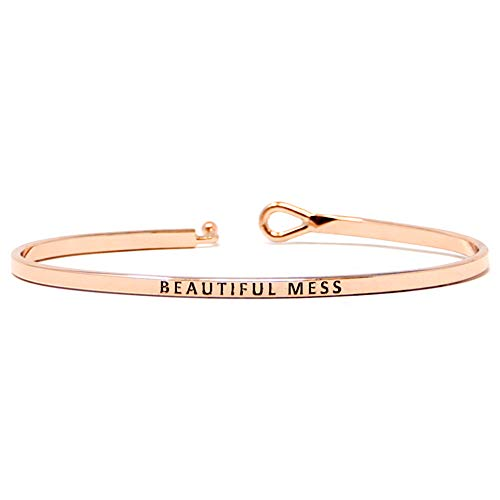 by you Inspirational Positive Message Engraved Thin Cuff Bangle Hook Bracelet (Beautiful Mess - Rose Gold, -