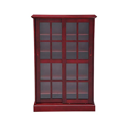 Circlelink Glass Sliding Door Bookcase Media Cabinet, Cherry -
