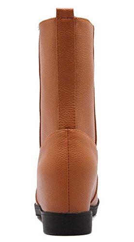 Tire Talon À Pu Cuir Brun Ageemi Unie Haut Bottes Couleur Bas Femme Correct Shoes w1wXT0C