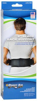 Sport Aid 6'' Black Back Support - 1 ea., Pack of 4 by SportAid