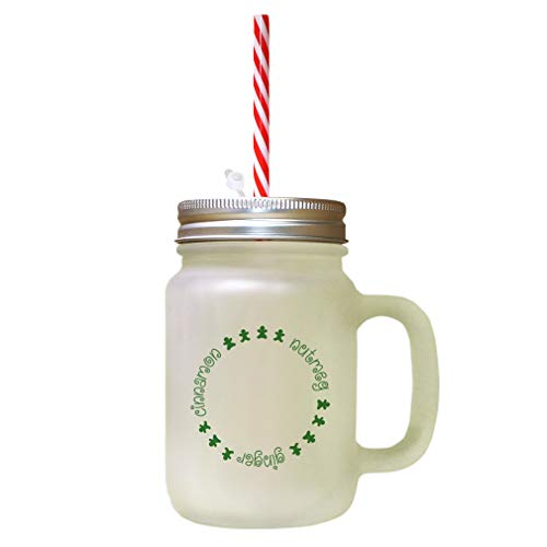 Forest GreenCinnamon, Nutmeg, Ginger Frosted Glass Mason Jar With Straw