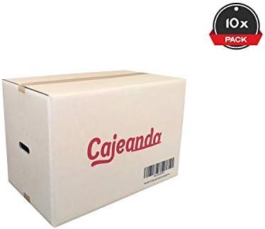 Cajeando | Pack de 10 Cajas de Cartón con Asas | Tamaño 55 x 35 x 37 cm | Canal Doble de Alta Calidad Reforzado y Resistencia | Mudanza y Almacenaje | Fabricadas en España: Amazon.es: Oficina y papelería