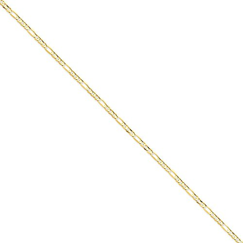 7' Open Link Bracelet - Roy Rose Jewelry 14K Yellow Gold 3mm Concave Open Figaro Link Chain Bracelet ~ Length 7'' inches