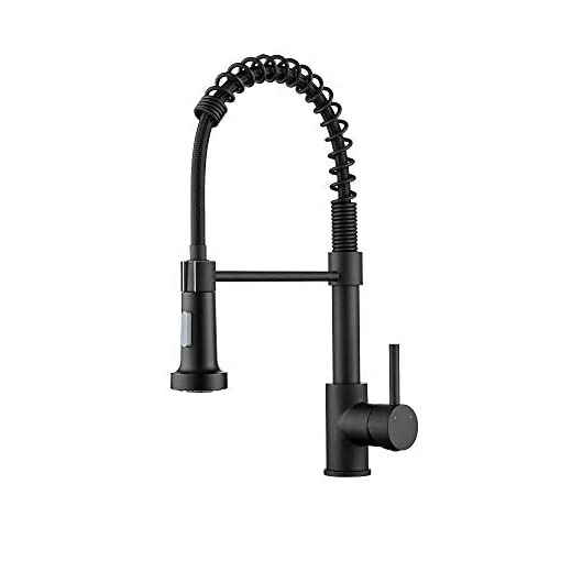 Farmhouse Kitchen Ravinte Commercial Matte Black Kitchen Faucet with Sprayer Single Handle Spring Spout Faucets Pull Down Sprayer Solid… farmhouse sink faucets