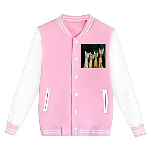 Four Cats Looking Up Baseball Uniform Jacket Unisex Hoodie Fashion Coat Sweater Pink XL
