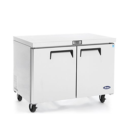 Commercial Undercounter Refrigerator,Commercial Large Beverage Cooler Fridge Center ATOSA MGF8403 Double 2 Door Stainless Steel Horizontal Refrigerators 17.9 Cu.Ft.60W30D36.3H inch 32℉-38℉ ()
