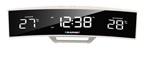 Blaupunkt CR12WH Radiowecker mit LED-Display, Temperatur Innentemperatur Außentemperatur Uhrzeit Wecker Weiß