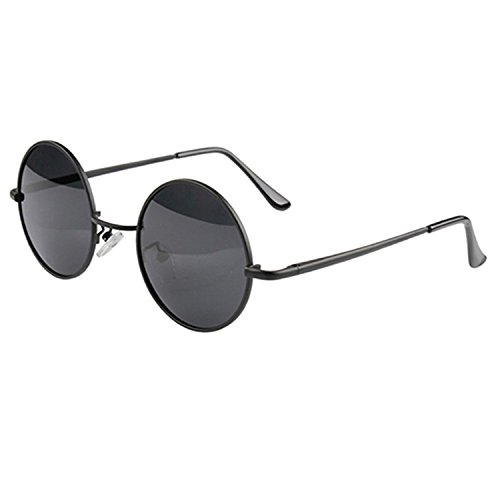 redondas de metal con de gafas sol Negro marco 8qfzEg
