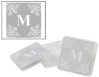 Amazon.com: Personalized Silver Monogram Square Containers ...