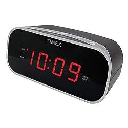 Timex T121B Alarm Clock with 0.7-Inch Red Display (Black) (Renewed)