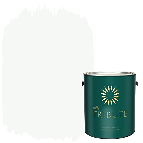 KILZ TRIBUTE Interior Matte Paint and Primer in One, 1 Gallon, Ultra Bright White (TB-01)