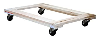 "Vestil HDOF-2436-9 Open Deck Hardwood Dolly, 900 lbs Capacity, 36"" Length x 24"" Width x 5-1/2"" Height Deck"