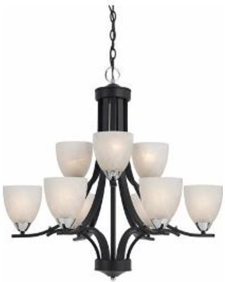 Lumenno Lighting 8004-03-09 Black Finish with Chrome Accents Finish Chandelier and White Swirl Alabaster Glass Shades by Commercial Lighting