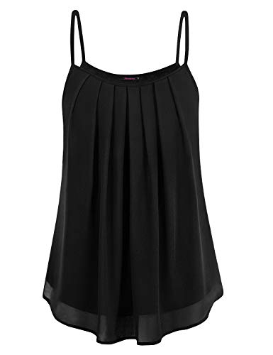Anmery Womens Sleeveless Shirts Dressy Tops and Blouses Tunic Tops for Work Black XL ()