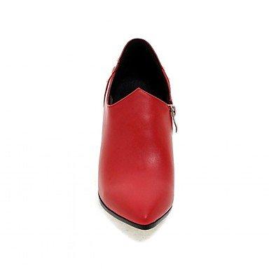 Botas de mujer primavera otoño invierno Confort Novedad Oficina de microfibra &Carrera vestimenta informal Stiletto talón Zipper Rojo Blanco Negro 3,35 (8.5cm) Ruby