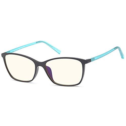 Trust Optics Premium Optical Quality Glasses Frame in Modern Cateye RX Grooved Prescription Ready Rx-able Eyeglasses w Anti UV400 Anti Glare in Black Aqua - Glasses Sale Rx