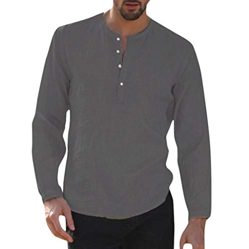 - Benficial Men's Baggy Cotton Linen Solid Button Plus Size Long Sleeve Shirts Tops Blouses 2019 Summer Dark Gray