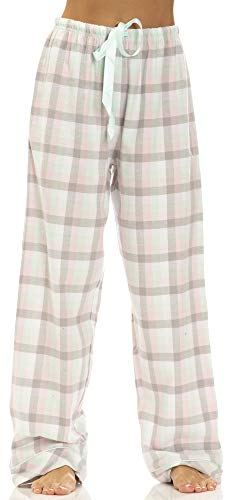 va Rose Womens Yarn Dye Cotton Flannel Drawstring Pajama Bottoms in White Sunny Plaid (100), 2X ()