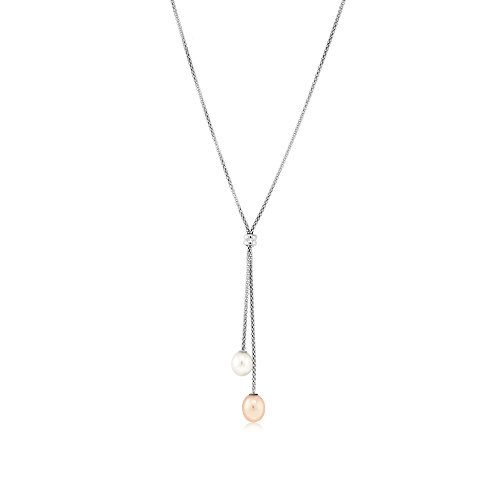 925 Sterling Silver Lariat Necklace With Dangling Cultured Freshwater Pearls
