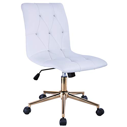 Duhome High Back Diamond Tufted Designer Home Office Task Chair Executive Computer Desk Receptionist Rolling Chair 616A (White) (Chair Rolling Acrylic)